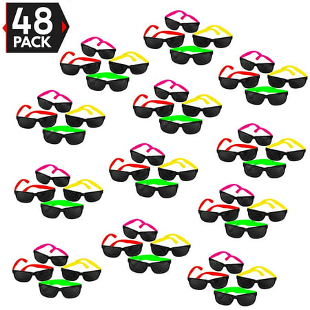48 Pack 80's Style Neon Party Sunglasses - Fun Gift, Party Favors, Party Toys, Goody Bag Favors (80s Party Themes)