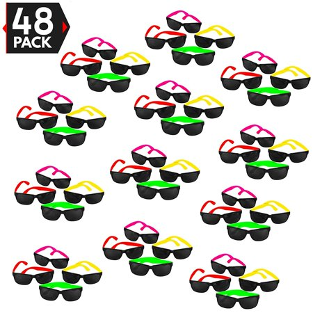 48 Pack 80's Style Neon Party Sunglasses - Fun Gift, Party Favors, Party Toys, Goody Bag Favors](Neon Themed Party)