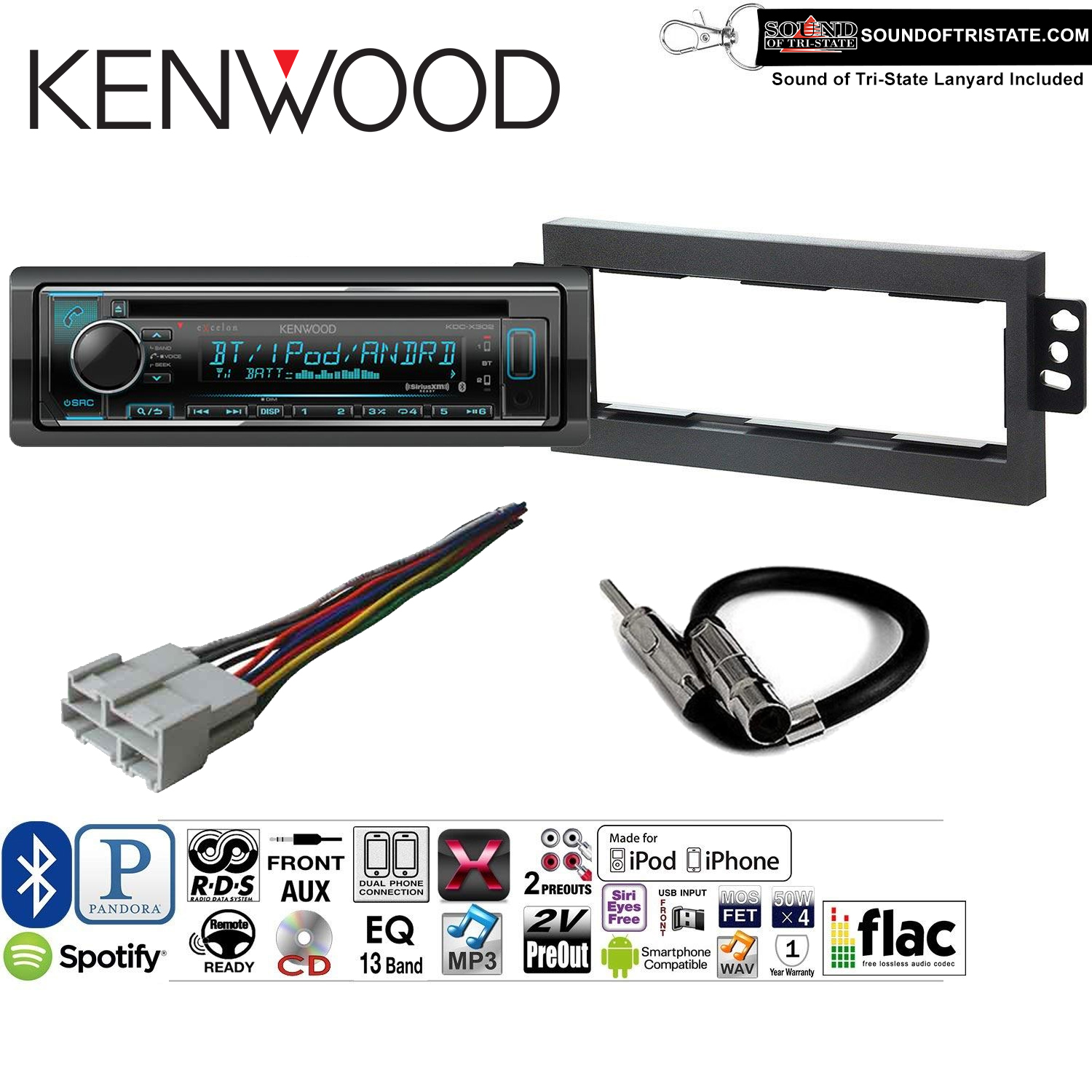 Kenwood KDCX302 Double Din Radio Install Kit with Bluetooth, CD Player, USB/AUX Fits 1994-1996 Chevrolet Impala, 1997-2000 Chevrolet Malibu and a SOTS lanyard included