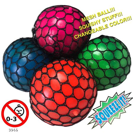 12/pk Assorted Color Mesh Squishy Stress Relief Balls Tear-Resistant Non-toxic