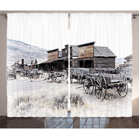 Western Decor Curtains 2 Panels Set, Old Wooden Wagons from 20's in Ghost Town Antique Wyoming Wheels Art Print, Window Drapes for Living Room Bedroom, 108W X 84L Inches, Brown White, by Ambesonne - Old Western Decor