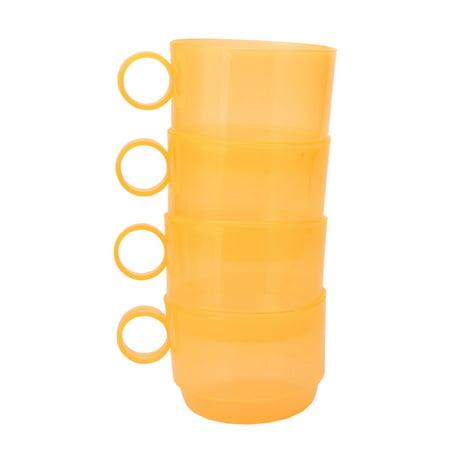 Unique BargainsHome Cafe Plastic Circle Handle Tea Coffee Storage Drinking Cup Mug Yellow 4pcs