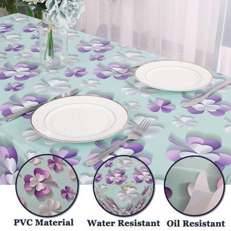 """Tablecloth PVC Vinyl Table Cover Oil Water Resistant Table Cloth 54"""" x 71"""", #3 - image 3 of 7"""