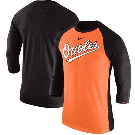 Baltimore Orioles Nike Wordmark Tri-Blend Raglan 3/4-Sleeve T-Shirt - Orange/Black