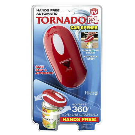 Tornado F4 Can Opener - New and Improved - Safest, fastest, Easiest Hands-Free Can Opener (Red) - Can Can Dancer