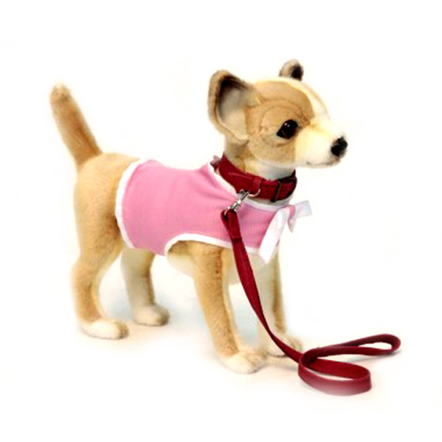 Hansa Chihuahua With Pink Coat And Leash Plush Toy Walmart Com