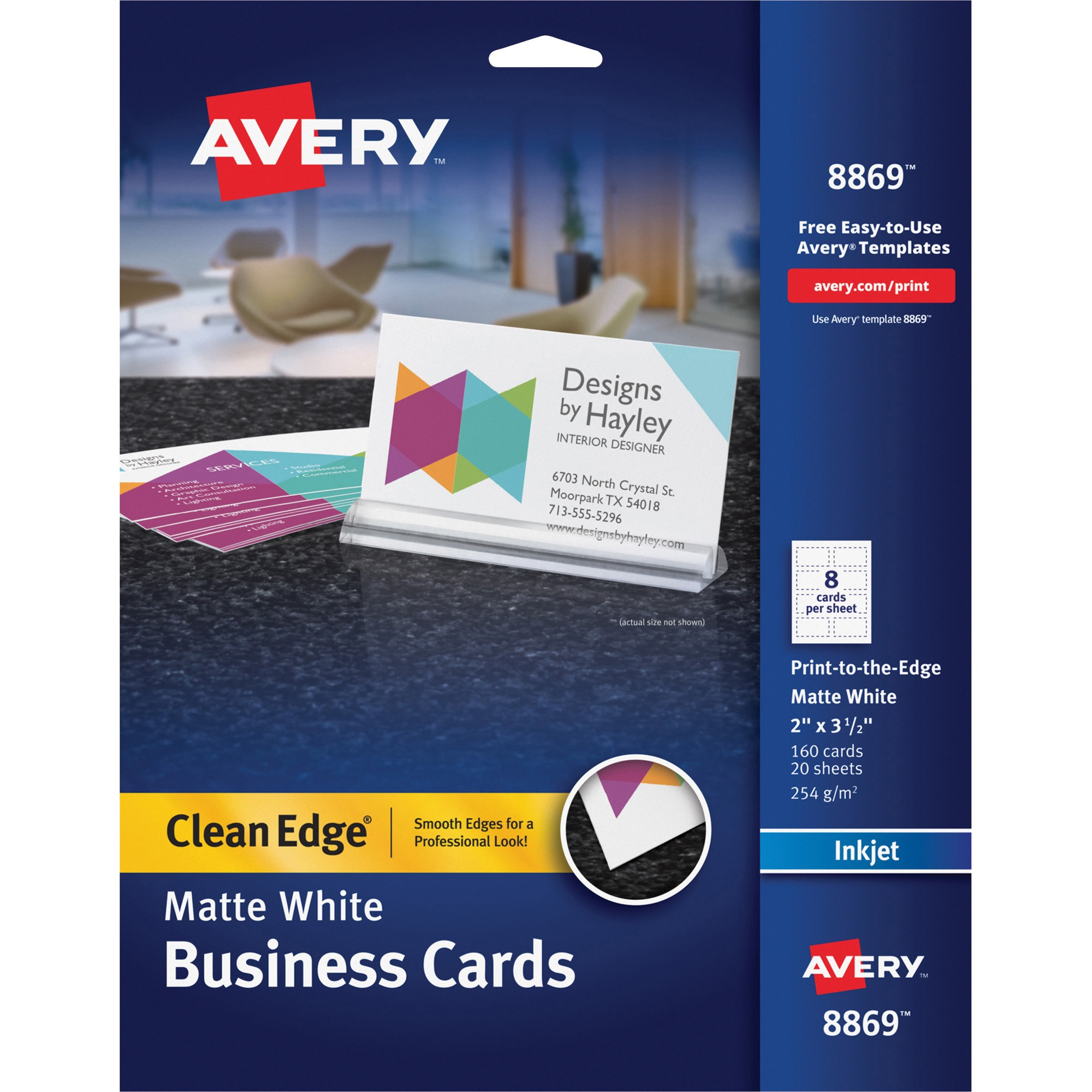 Avery Print-to-the-Edge True Print Business Cards, Inkjet, 2x3 1/2, Wht, 160/Pk