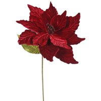 """QG162715 Poinsettia with 12"""" Flower Head & Paper wrapped wire Stem in 6/Bag, 22"""", Chocolate, 12Flower head By Vickerman"""