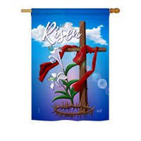 "Angeleno Heritage H137157-BO Easter Cross Spring Impressions Decorative Vertical 28"" x 40"" Double Sided House Flag"