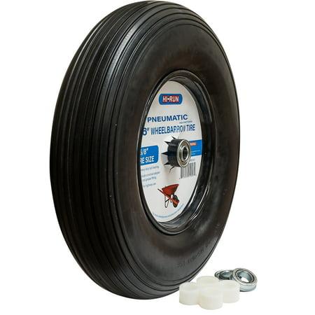 16 Inch Pneumatic Wheelbarrow Tire Assembly (Rib Pattern), with Universal Bearing Kit and Greases fitting Wheelbarrow Rib Tire
