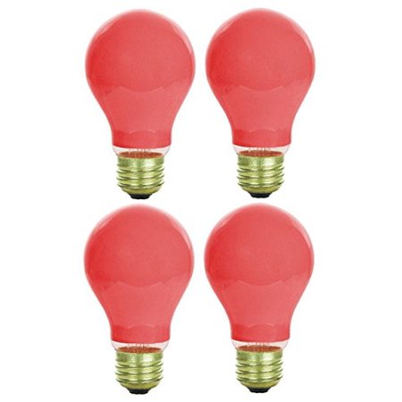 Pack Of 4 40 Watt A19 Ceramic Red Medium Base Standered Household Incandescent Red Colored Light (Base Red Incandescent Light Bulb)