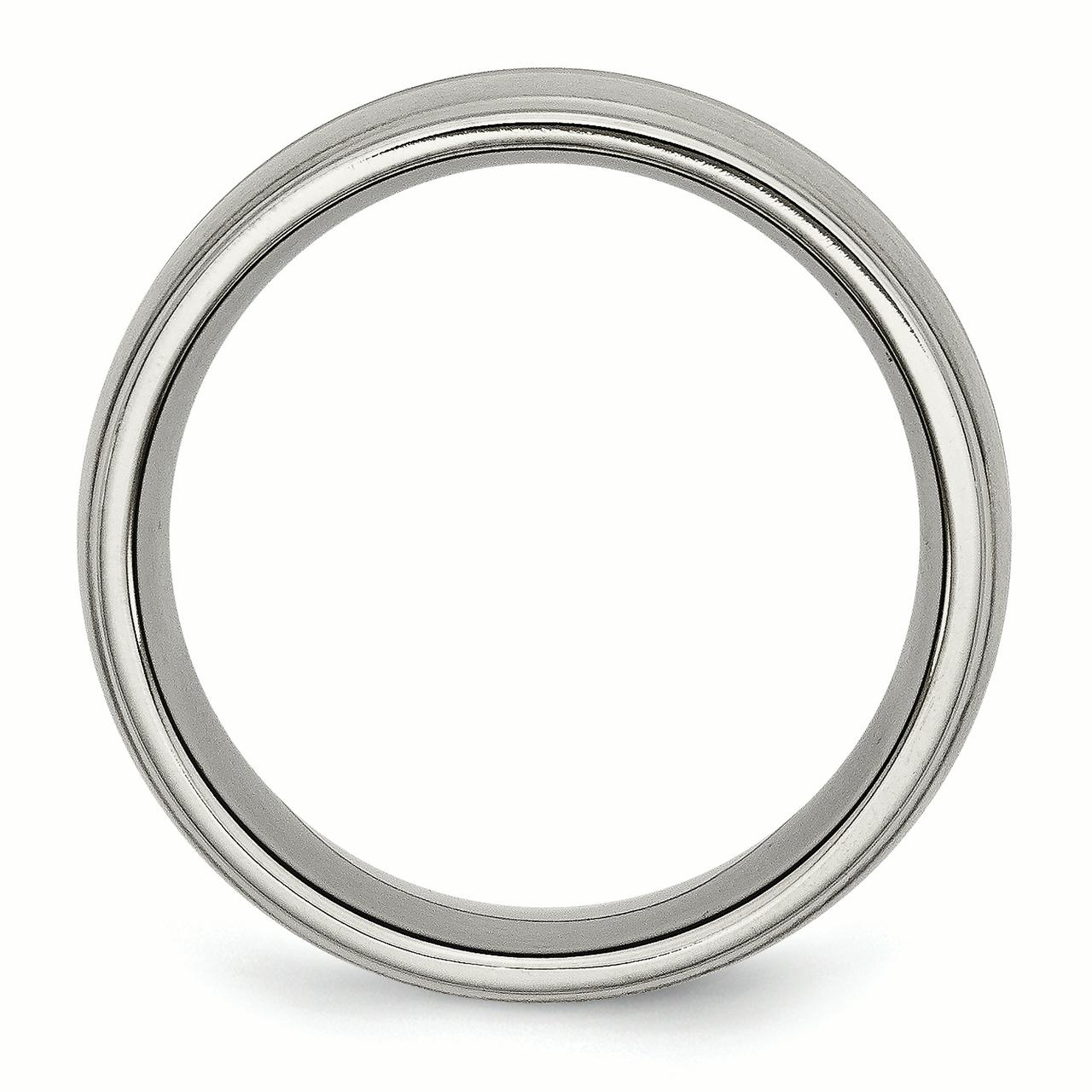 Titanium Grooved Ridged Edge 10mm Brushed and Polished Band Size 14 - image 1 de 3