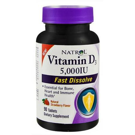 Natrol La vitamine D3 5000 UI Dissoudre rapide Comprimés, 90 Ct