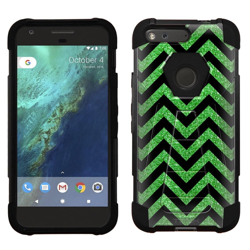 Google Pixel Hybrid Stand Case - Chevron Green Black