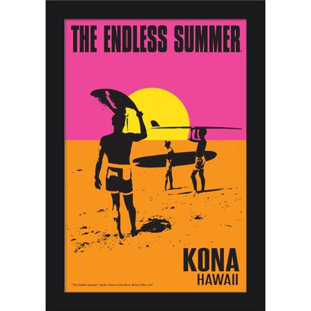 Kona, Hawaii - The Endless Summer - Original Movie Poster (12x18 Giclee Art Print, Gallery Framed, Black Wood)