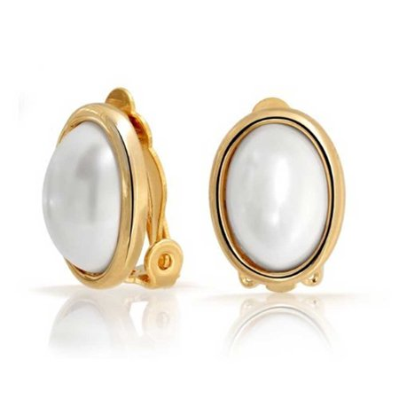 Simple White Simulated Pearl Cabochon Bezel Oval Clip On Earrings For Women For Non Pierced Ears 14K Gold Plated Brass (Clip White Earrings)