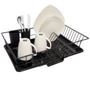 Sweet Home Collection 3-Piece Kitchen Sink Dish Drainer Set. Color: Black