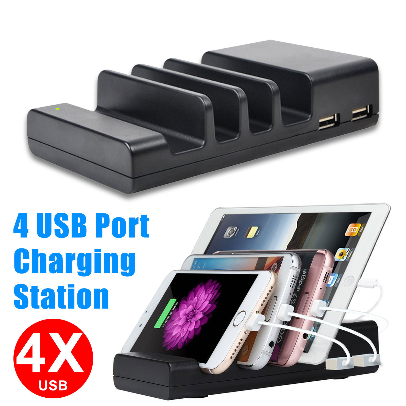 TSV 4-Port Multi USB Charging Station Stand Desktop Charger Dock For Cellphone Smartphone Tablet