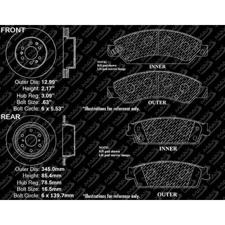 Max Brakes Front & Rear Premium OE Rotors and Metallic Pads Brake Kit | TA078243-11 - image 5 de 8