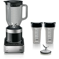 Braun PureMix Countertop Power Blender with 56 oz. Thermal-Resistant Glass Blending Pitcher & Smoothie2Go Cups in Black