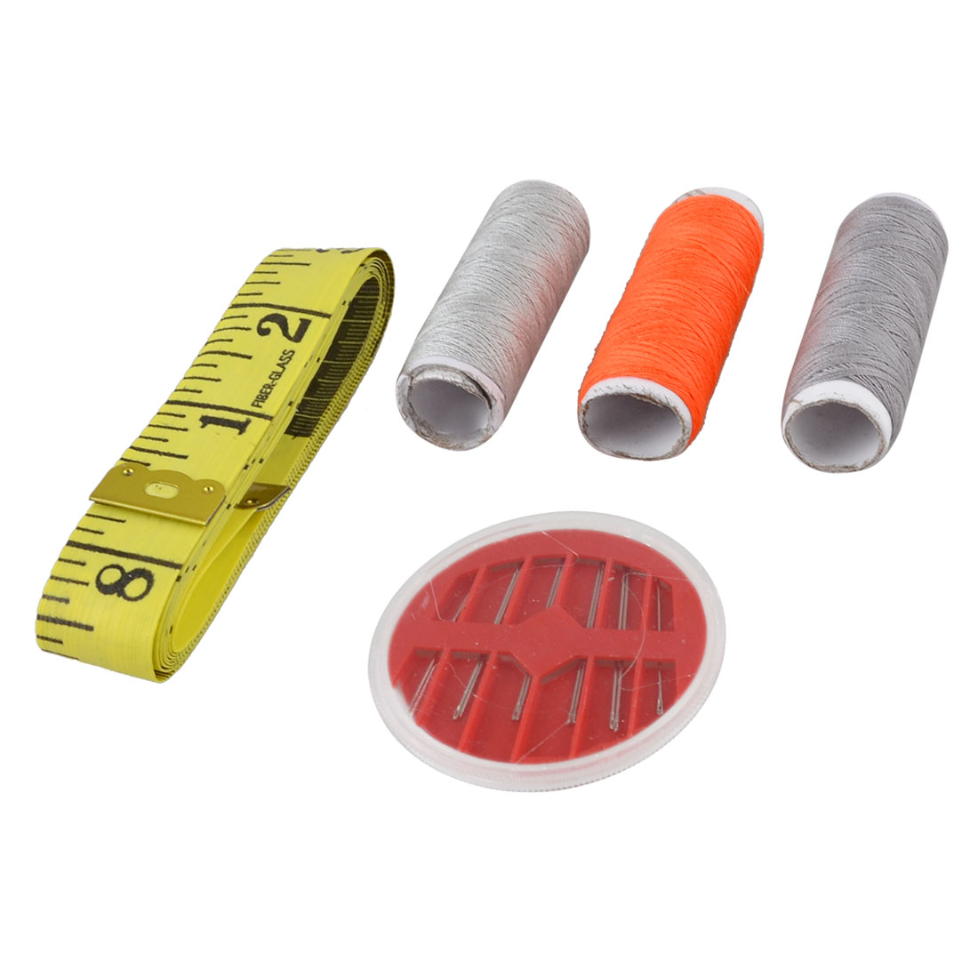 Household Sewing Tool Yellow Measuring Tape Needles Multicolor Thread Spools