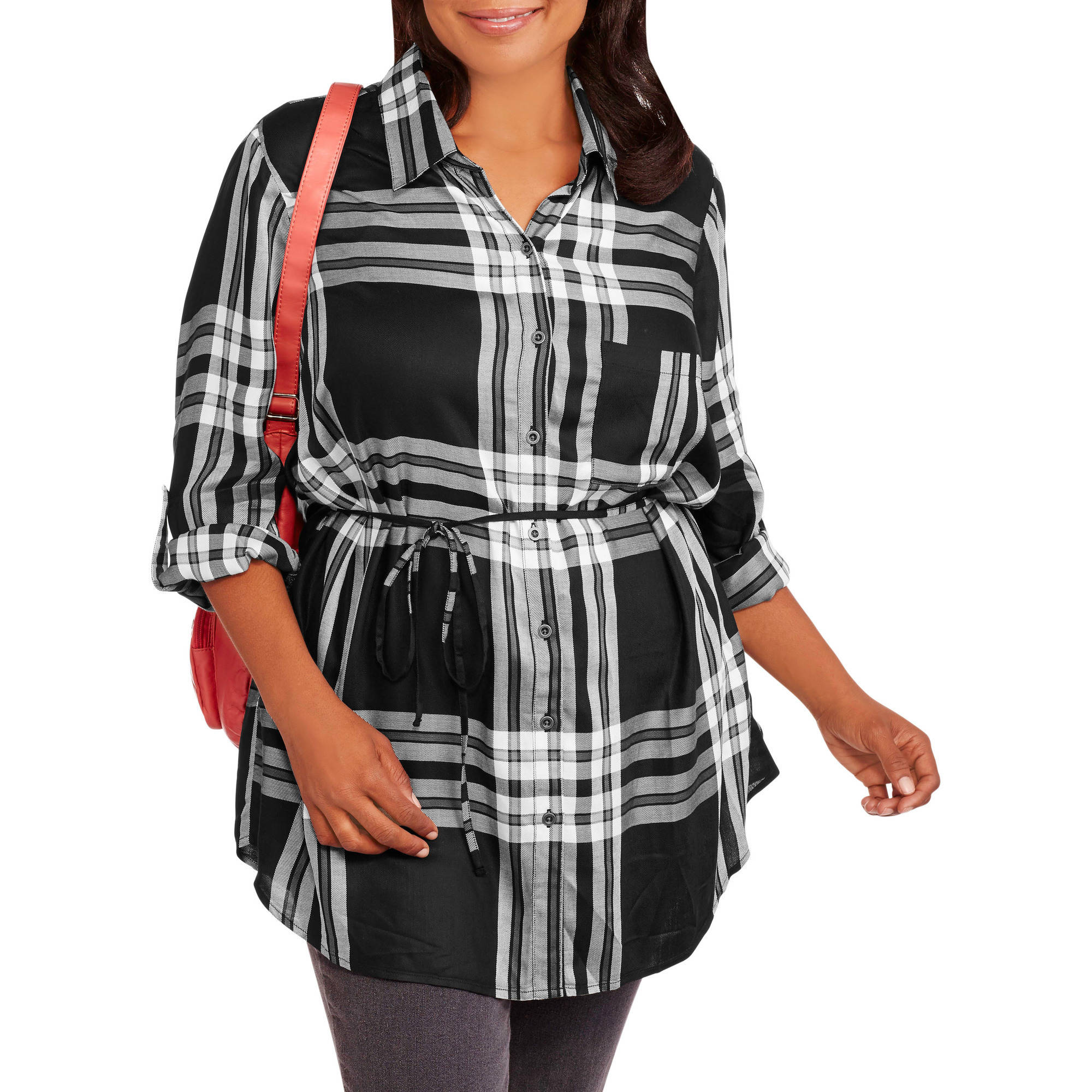 Faded Glory Women's Plus Plaid Collared Tunic Shirt