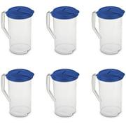 Sterilite 2 Qt Clear Plastic Drink Pitcher with Leak Proof Lid, Blue (6 Pack)