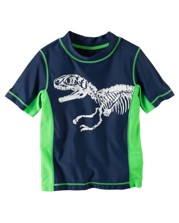 White 12m Carters Boys S//S Crab Rashguard Shirt