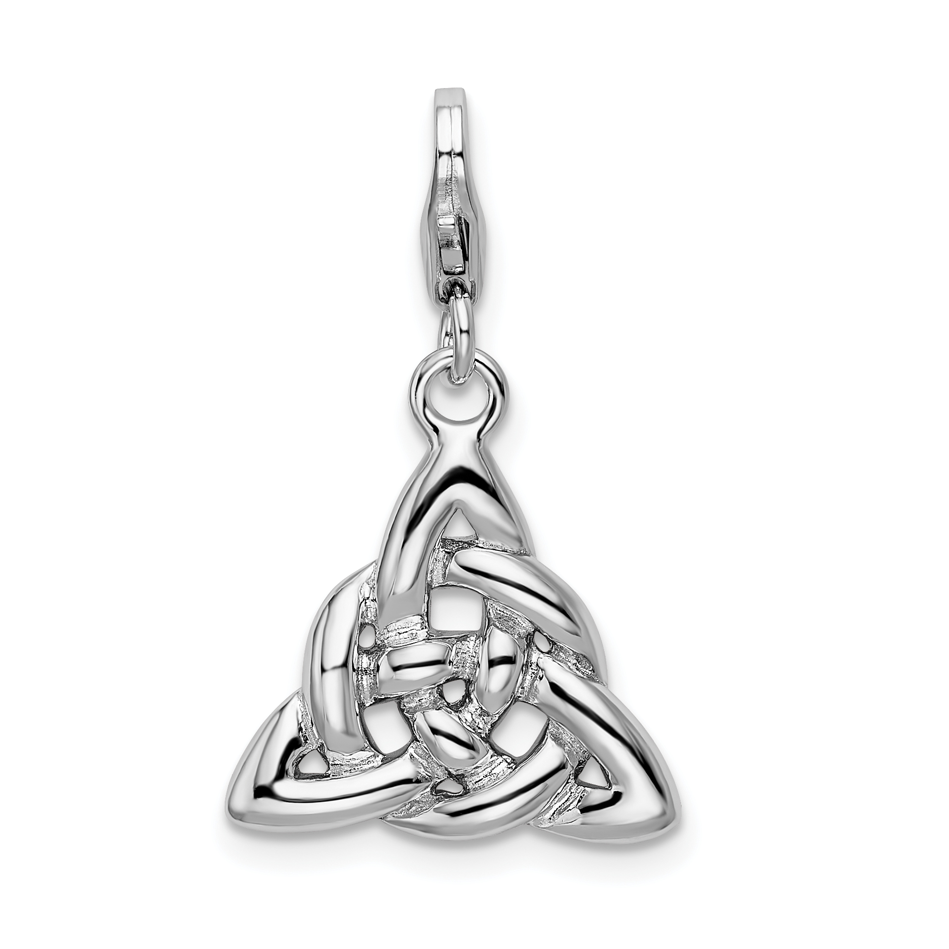Sterling Silver Polished Trinity Knot W//Lobster Clasp Charm
