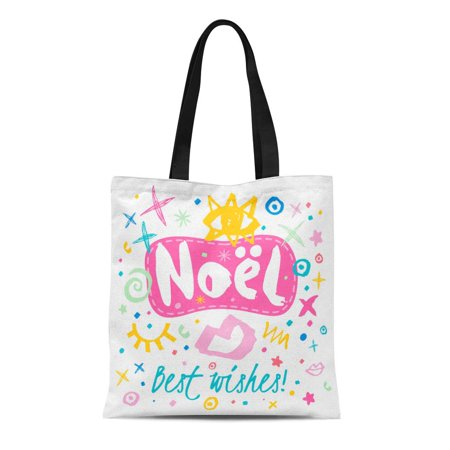 ASHLEIGH Canvas Tote Bag Noel Best Wishes Sketch Christmas Lettering Multicolor Doodles Snowflakes Durable Reusable Shopping Shoulder Grocery
