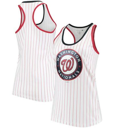 Washington Nationals 5th & Ocean by New Era Women's Pinstripe Racerback Tank Top - White/Red