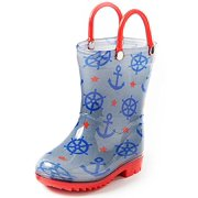 Puddle Play Children's Boys' Nautical Printed Waterproof Easy-On Rubber Rain Boots (Toddler/Little Kids)