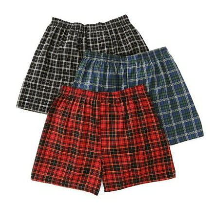 Mens Assorted Tartan Plaid Boxers, 3 Pack