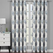 Lafayette Modern Abstract Jacquard Curtain Panels With Grommets ( Set of 2 Panels )