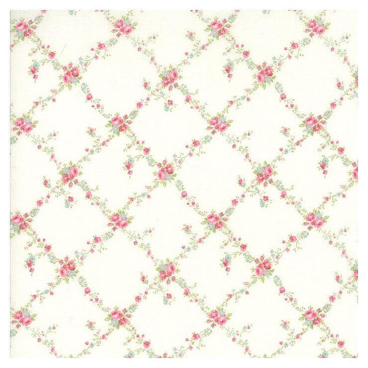 Moda - Caroline - Pink Lattice Bouquets - Cotton Fabric