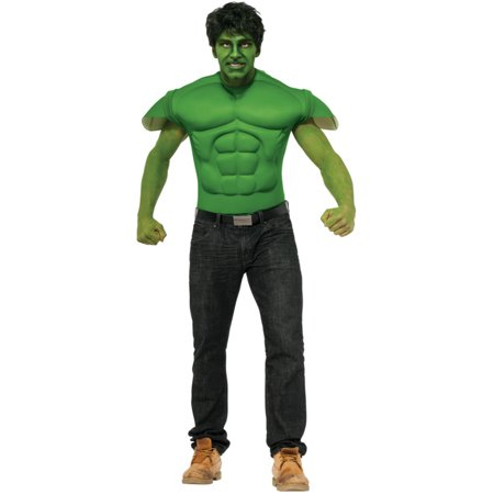 Adults Mens Marvel Comics Avengers The Hulk Costume Muscle Shirt Mask Large (44) (Hulk Mens Costume)