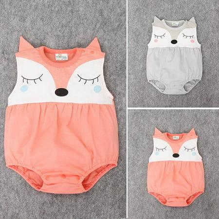Cartoon Baby Boy Girls Infant Fox Romper Jumpsuit Sleeveelss Summer Outfit 0-24M - Misty Pokemon Outfit