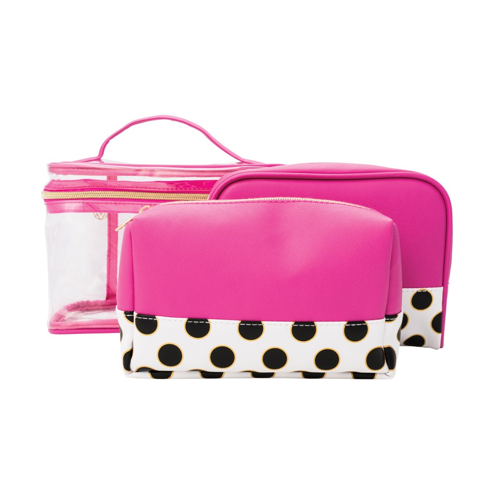 MB TIFFANY DOT PINK 3PC TRAIN CASE