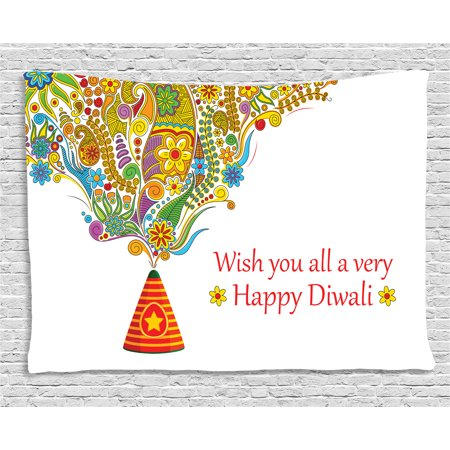 - Diwali Decor Tapestry, Indian Festive Religious Celebration Cone with Star Spraying Paisley Print, Wall Hanging for Bedroom Living Room Dorm Decor, 60W X 40L Inches, Multicolor, by Ambesonne