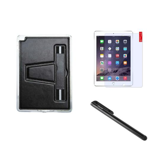 Insten For iPad Air 2 TPU Gel Rubber Soft Skin Case Cover w/ Stand+Protector+Pen Black