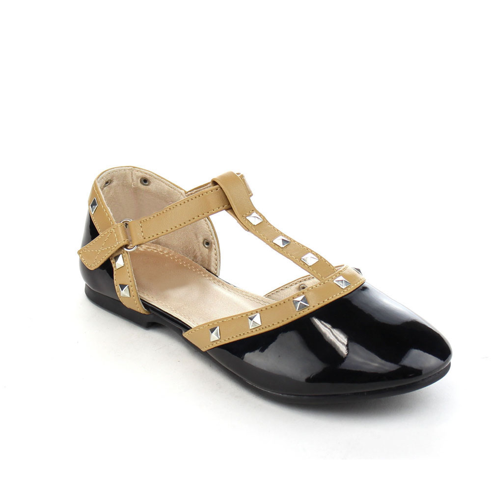 Beston DB64 Girl's Pyramid Studded D'orsay T-strap Ankle Strap Flat Ballet Shoes by