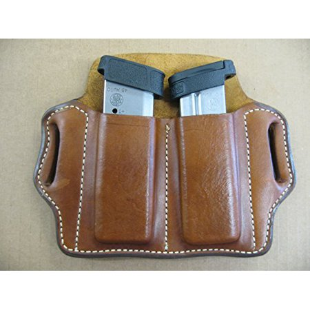 Azula Leather 2 Slot Molded Pancake Belt Mag Clip Pouch for Smith & Wesson S&W Shield TAN Smith And Wesson Clips