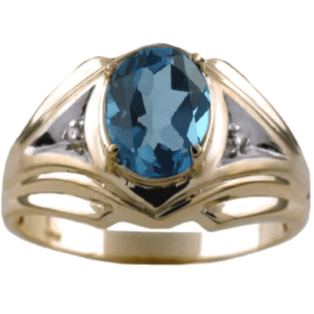 14k Mens Diamond Rings - Mens Blue-Topaz & Diamond Ring 14K Gold Yellow Band - December Birthstone