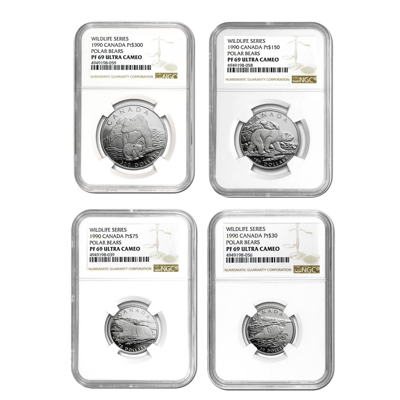 1990 Canada 4-Coin Proof Platinum Polar Bear Set PF-69 NGC by