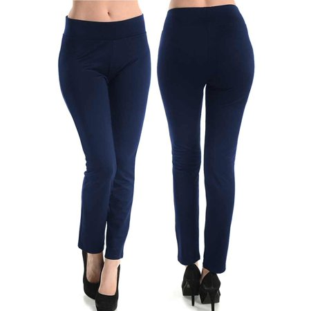 Womens Basic Cotton Full Length Leggings Spandex Pants Yoga Slim Sizes S M L 95% Cotton 5% Spandex