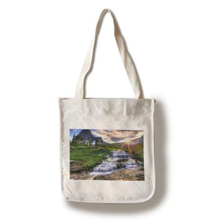 Glacier National Park, Montana - Mt. Reynolds & Sun Rays - Lantern Press Photography (100% Cotton Tote Bag - -
