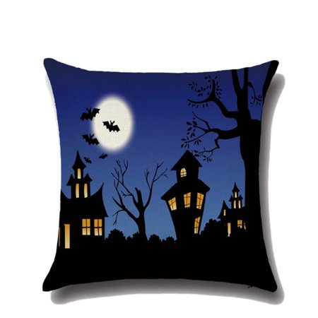 SWEETLIFE Halloween Horror House Pumpkin Devil Smile Pattern Cotton Linen Pillow Cases Cushion Covers (Halloween Horror Pumpkin Patterns)