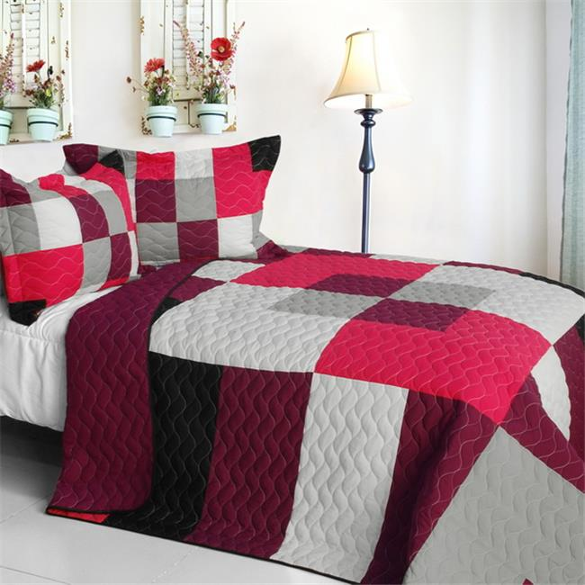 Girls daydream - 3 Pieces Vermicelli-Quilted Patchwork Quilt Set  Full & Queen Size - Pink - image 1 de 1
