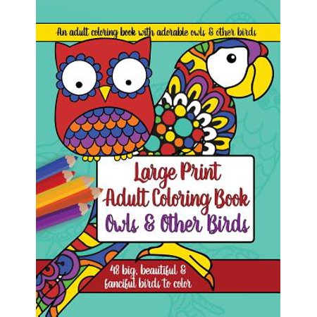 Large Print Adult Coloring Book : Owls and Other Birds