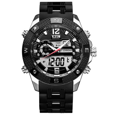 Mens Quartz Watch Black Dial Aolly Case Direction Time Analog Display Fashion Mens Choice Best for Gift